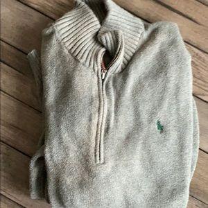 Youth polo 1/4 zip size XL grey w green polo